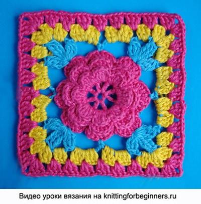 Вязание узор цветок в квадрате